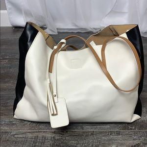 Poverty Flats Black, White, Tan Handbag
